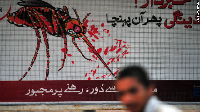 A Pakistani boy walks past the awareness advertisement against the deadly tropical disease dengue fever in Islamabad on September 30, 2011.