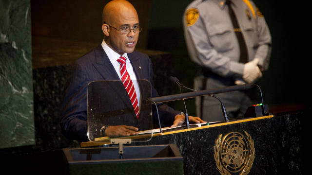 Haitian President Michael Martelly speaks during the United Nations General Assembly on 23 September 23, in New York City.