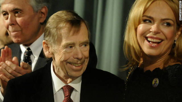 "Vaclav Havel and his wife, actress Dagmar, attend the March premiere in Prague of ""Leaving,"" a movie that he directed."