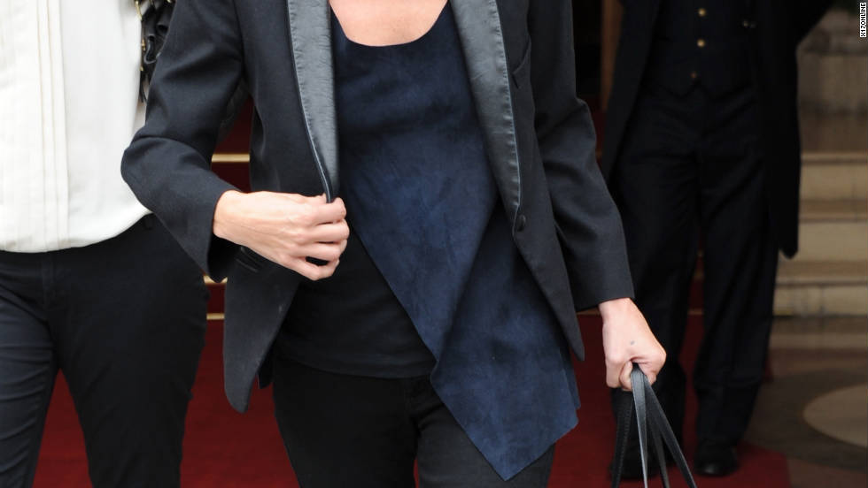 Kate Moss leaves a hotel in Paris, France.