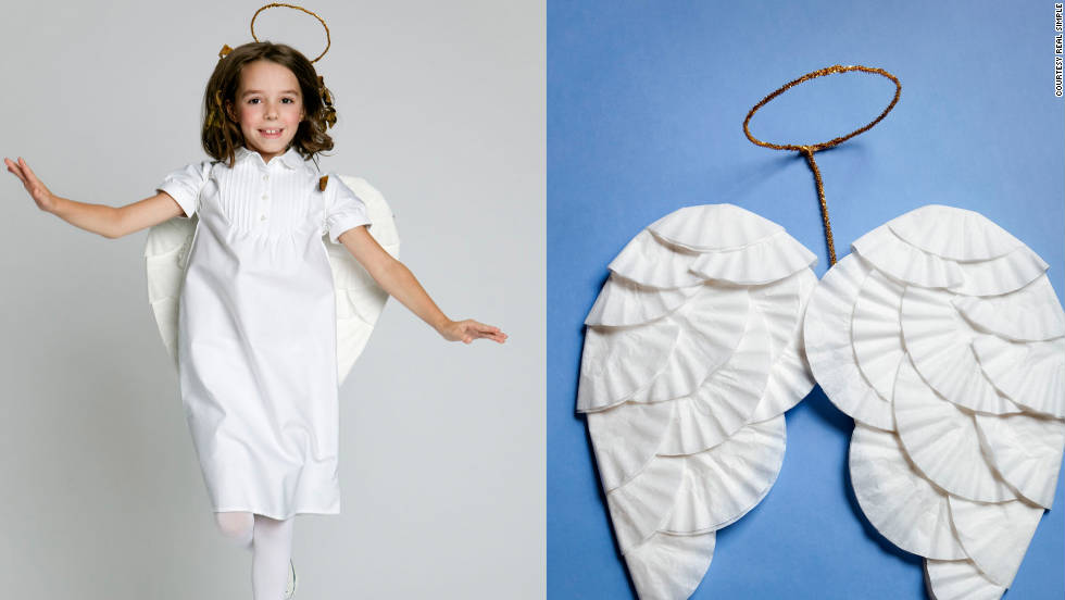 Fallen angel: Coffee filters create a great pair of wings.