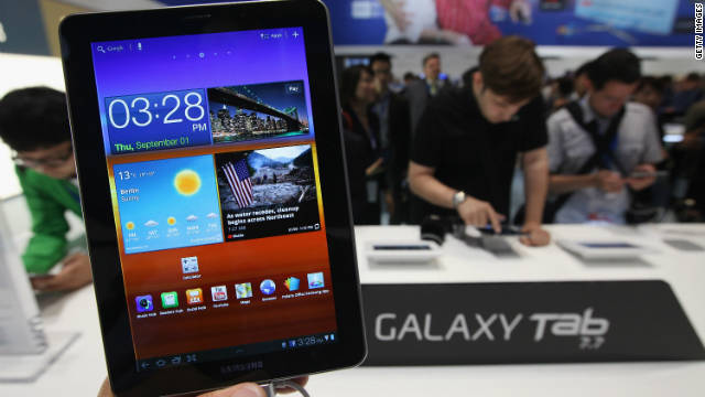A Samsung Galaxy Tab 7.7 tablet on display at a trade fair in Germany.