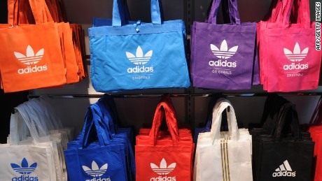 Picture taken on on March 2, 2011 shows Adidas bags on display on the sidelines of the results press conference at the company's headquarters in Herzogenaurach, southern Germany