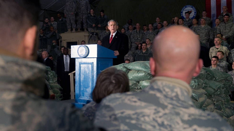 President Bush speaks to troops during an unannounced visit to Bagram Air Base in Afghanistan on December 15, 2008. It was his second and last visit as president.
