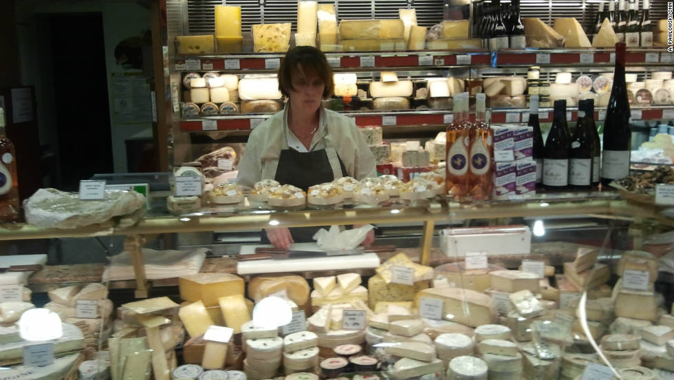 A fromagerie on Rue Cler offers hundreds of varieties of cheeses for sale.