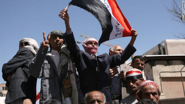 Yemeni anti-government protesters demand regime change in Sanaa on Saturday.