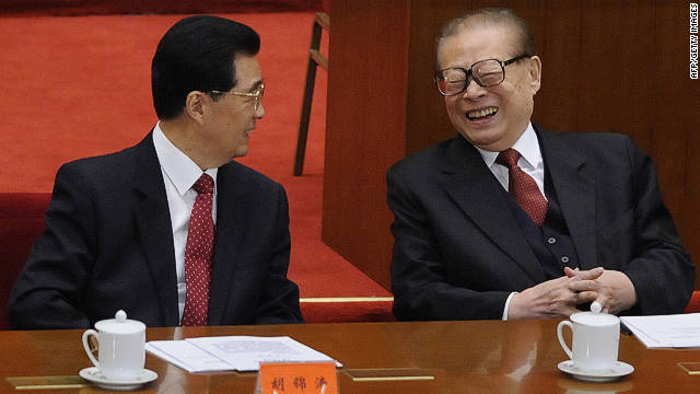 Jiang Zemin, right, sits with President Hu Jintao during a ceremony to mark China's 1911 revolution in October.