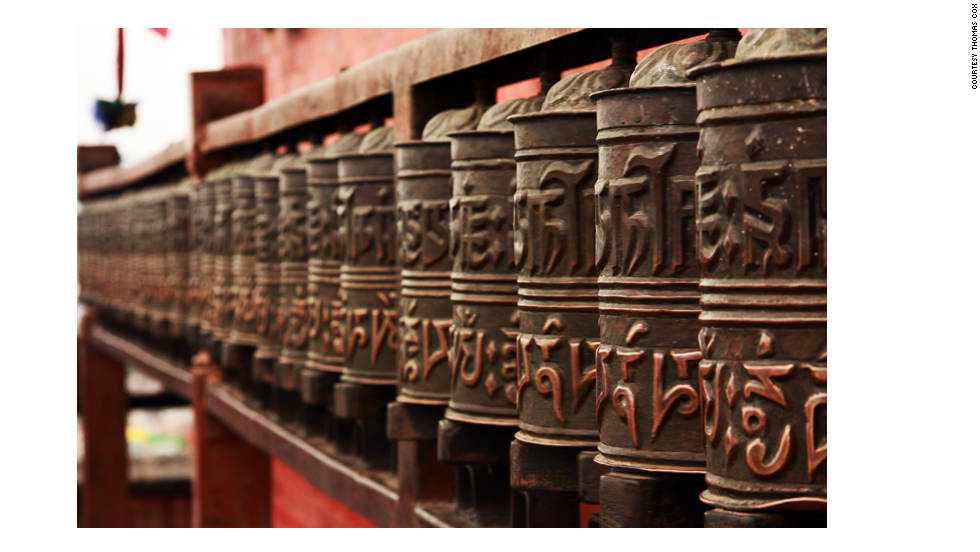 "Prayer wheels can be found at the base of Boudhanath. ""The Kathmandu that I encountered was not far off from what I thought it would be like,"" Cox said. ""The city was rich in the mixture of many different cultures and religions. Shrines to both Buddhism and Hinduism were at almost every corner."" Cox also visited the Pashupatinath temple on the banks of the Bagmati River. The complex is a holy pilgrimage site for Hindus."