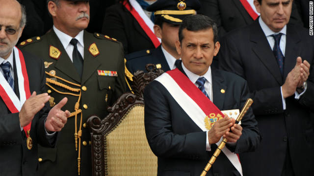 Peruvian President Ollanta Humala attends a traditional military parade in Lima on July 29, 2011.