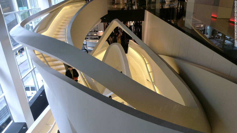Armani's 5th Avenue store in New York City was imagined by Italian husband and wife architectural team Massimiliano and Doriana Fuksas. The central focus of the designs in-store include a magnificent sculptural steel staircase.