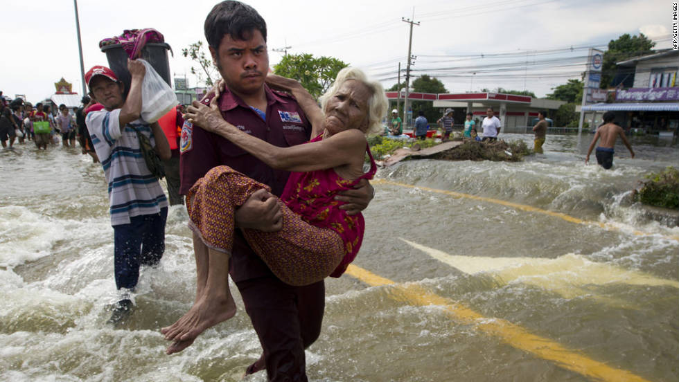 An elderly woman is evacuated as flooding causes havoc on October 9, 2011 in Ayutthaya, Thailand.