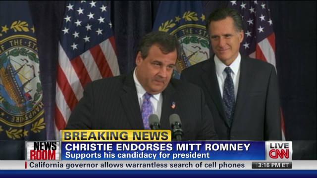 Gov. Christie endorses Mitt Romney