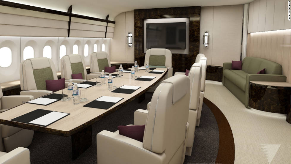 Is this a conference room or banquet table on the new 747? It's your call. There's plenty of floor-space.