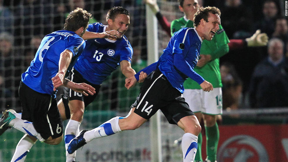 Estonia are another team bidding to reach their first major championship. Serbia's 1-0 defeat in Slovenia, coupled with Estonia's 2-1 win in Northern Ireland on Friday, was enough to secure Tarmo Ruutli's side a playoff spot.