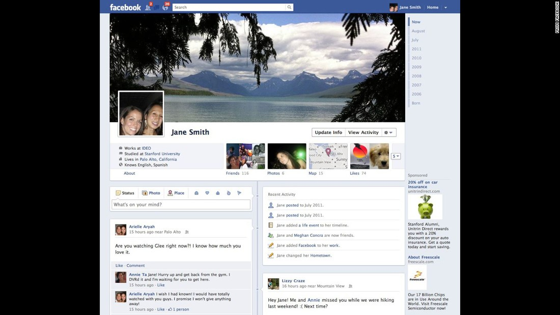 In the spring of 2012, Facebook forced all users to convert to its Timeline profile layout, which arranged updates in chronological order, searchable by year.