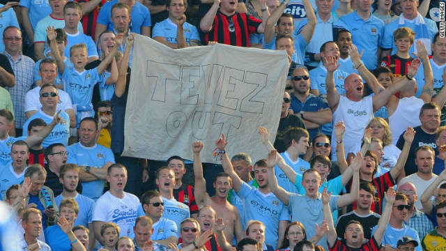 Manchester City fans made their feelings towards Tevez clear during a Premier League clash with Blackburn.