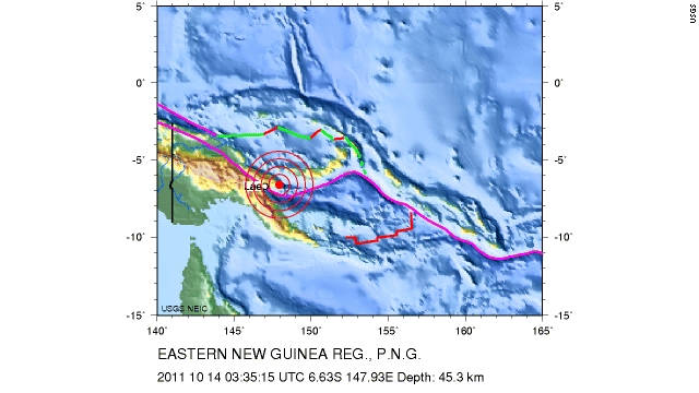 A map shows the earthquake's location in Papua New Guinea on Friday.