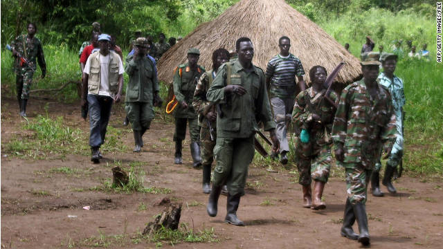 A 2008 photo shows Lord's Resistance Army fighters at Ri-Kwangba on southern Sudan's border with the Democratic Republic of Congo.