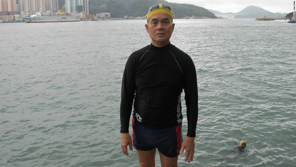 Bo Man-Hong, 66, has been swimming in Hong Kong Harbor almost every morning since he retired three years ago.