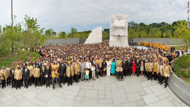 Members of Martin Luther King Jr.'s fraternity, Alpha Phi Alpha, visit the monument in Washington.