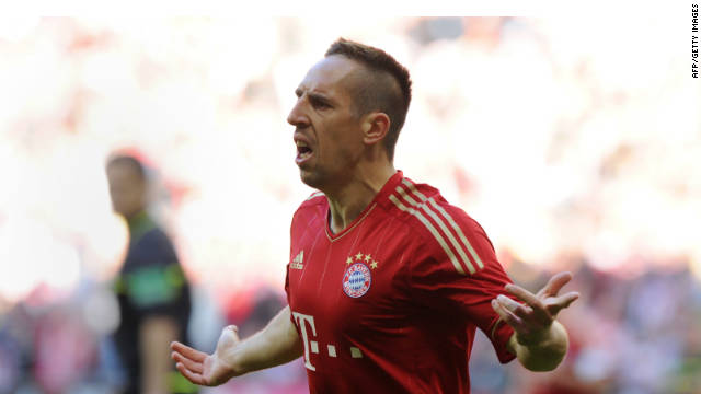 Franck Ribery celebrates his goal in Bayern Munich's 4-0 rout of Hertha Berlin.