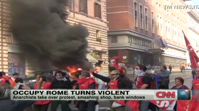Occupy Rome turns violent