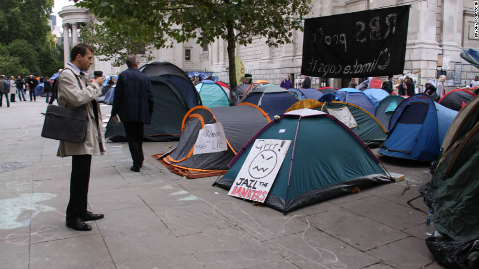 City workers have been left bemused - or amused - by the temporary encampment on their doorstep.