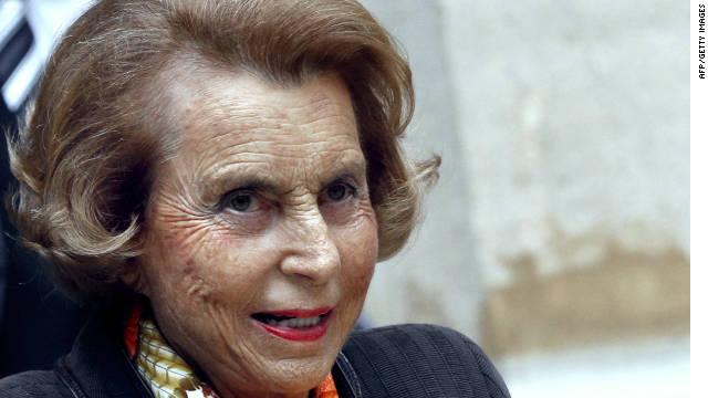 French L'Oreal heiress Liliane Bettencourt  shown leaving the Institut de France, in Paris.