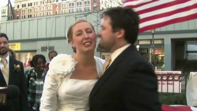 Groom: Occupy 'fun' wedding backdrop