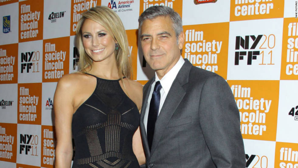 Stacy Keibler and George Clooney attend a film screening in New York City.