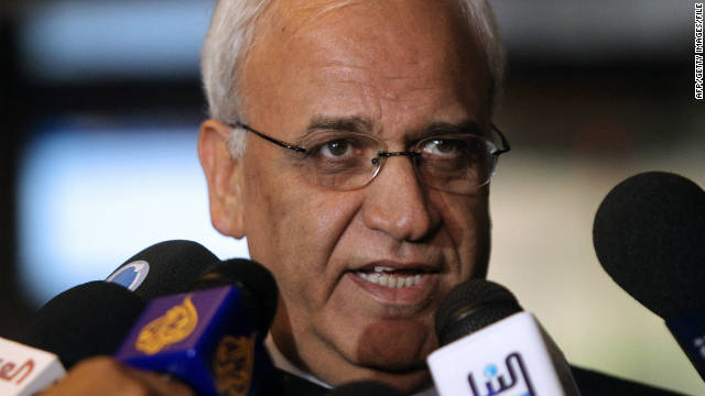 "Saeb Erakat, chief Palestinian negotiator, pictured here in June, acknowledged that ""Hamas managed to do their part."""