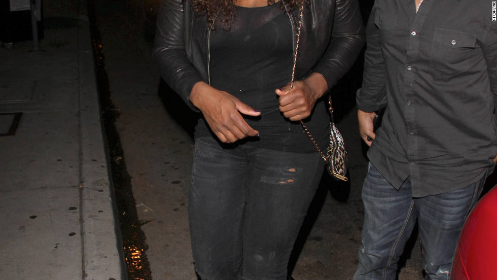 Serena Williams arrives at a lounge in West Hollywood.