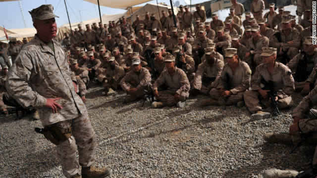 Gen. James Amos meets with Marines at Camp Hanson in Marjah, Afghanistan, in May.