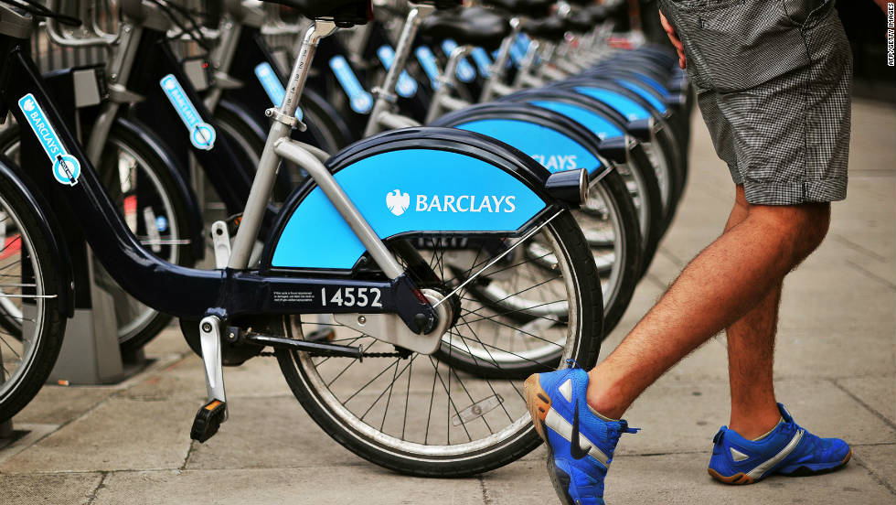"The Barclays Cycle Hire, nicknamed locally as the ""Boris bike,"" after the current London mayor who implemented it, is a regular sight around the British capital."