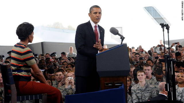 President Barack Obama and First Lady Michelle Obama speak to soldiers in Hampton, Virginia, on Wednesday.