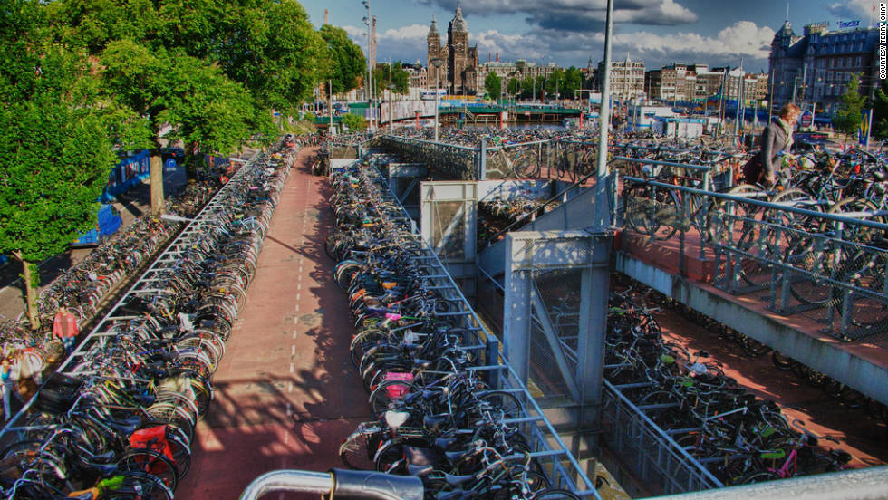 Bicycle parking spots in Amsterdam, the world capital for bike owners.