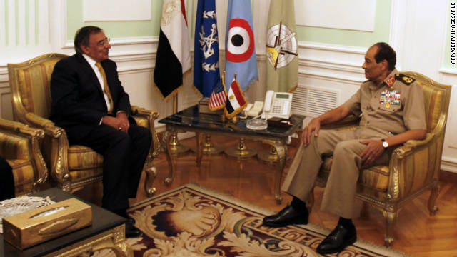 Field Marshal Mohamed Hussein Tantawi meets with U.S. Defense Secretary Leon Panetta in Cairo on October 4.