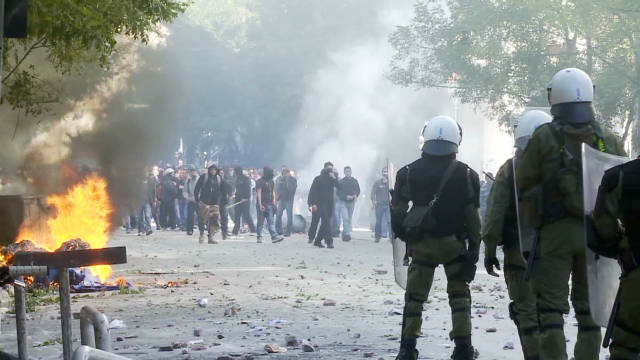 Greek protests enter second day