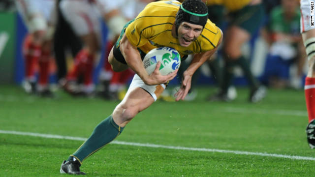 Berrick Barnes touches down for the first try of the match during Australia's 21-18 defeat of Wales.