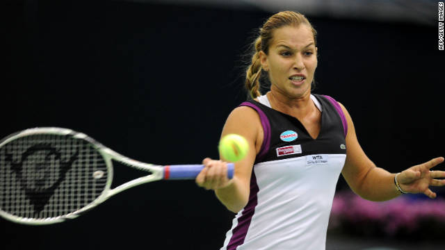 Dominika Cibulkova beat Elena Vesnina to reach the final of the Kremlin Cup in Moscow