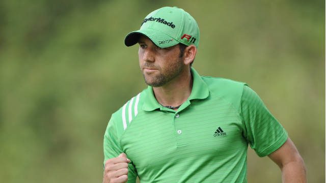 Sergio Garcia punches the air after picking up an eagle in his third round at the Castello Masters