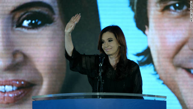 Argentina's President Cristina Fernandez de Kirchner waves in Buenos Aires after winning the general elections on Sunday.