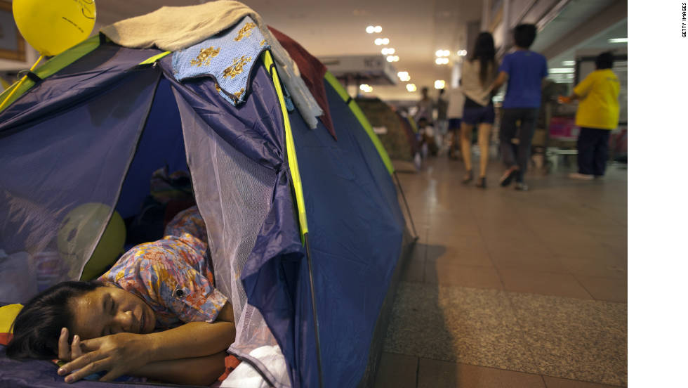 The Don Muang airport in Bangkok, Thailand, as seen on Sunday, has become an evacuation center.
