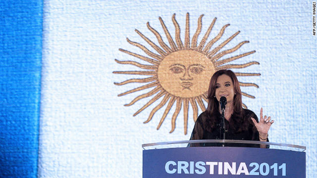 Argentina's President and presidential candidate of the Front for Victory party, Cristina Fernandez de Kirchner, delivers a speech after winning the general elections, in Buenos Aires, on October 23, 2011. Fernandez scored a resounding re-election victory in Argentina Sunday, winning a second four-year term by a huge margin over her closest rival, according to partial results.   AFP PHOTO / Maxi Failla (Photo credit should read Maxi Failla/AFP/Getty Images)
