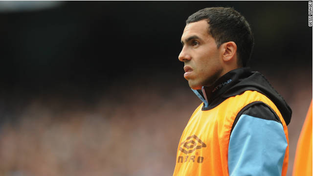 Carlos Tevez has been left on the sidelines after a bust-up with manager Roberto Mancini