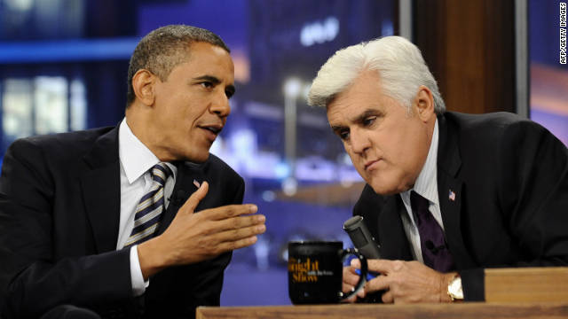 "President Barack Obama appears on ""The Tonight Show with Jay Leno"" on Tuesday night."