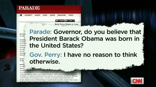Perry talks Obama's birth certificate