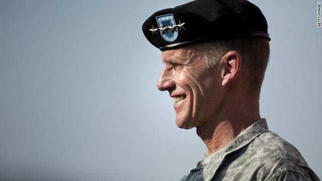 Stanley McChrystal smiles during a retirement ceremony in July 2010, in Washington, DC.