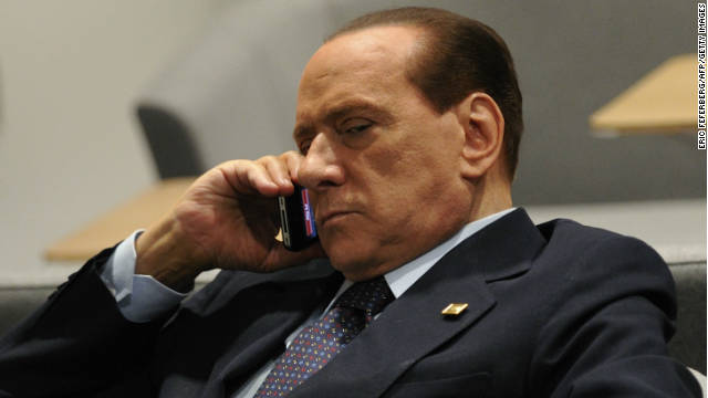 Italian Prime Minister Silvio Berlusconi prior to a European Council meeting on Sunday at the EU headquarters in Brussels.