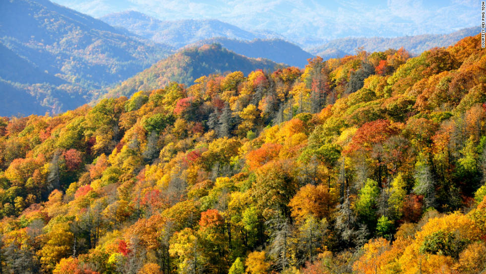 """Rolling hills of trees with leaves in different shades of reds, oranges and yellows are seen from one of the many lookouts at the Great Smoky Mountains National Park,"" Wei Ping Teoh said of his photo."